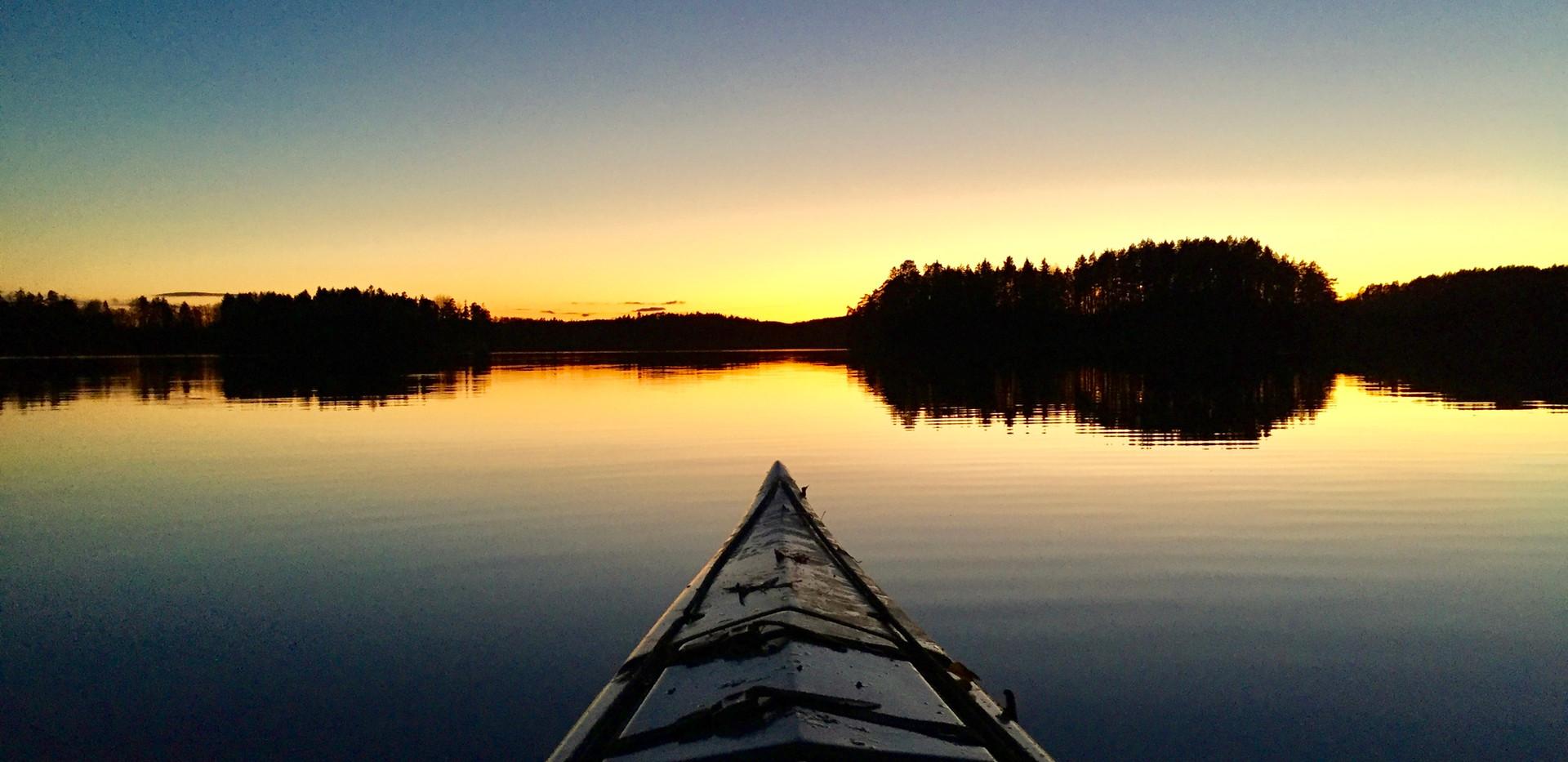 kayaking in a swedish lake