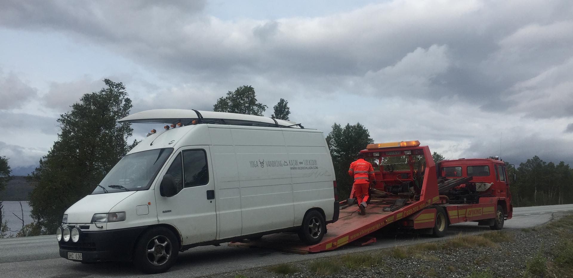 Flat tire. Hemavan Sweden