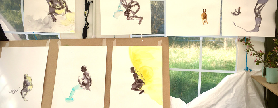 The black and white sketches in my new outdoorstudio