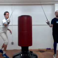 Attaching with a fencing sword.