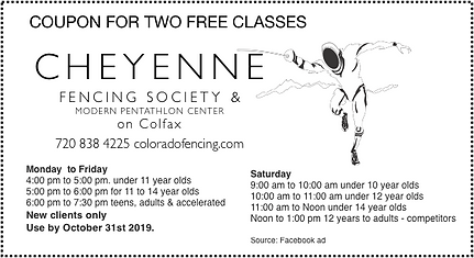 Coupon 2 Free Classes Exp Oct 31, 2019.p