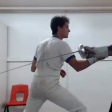 Barrett show the correct stance at Cheyenne Fencing