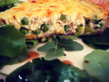 Asparagus, ricotta and minted pea quiche.