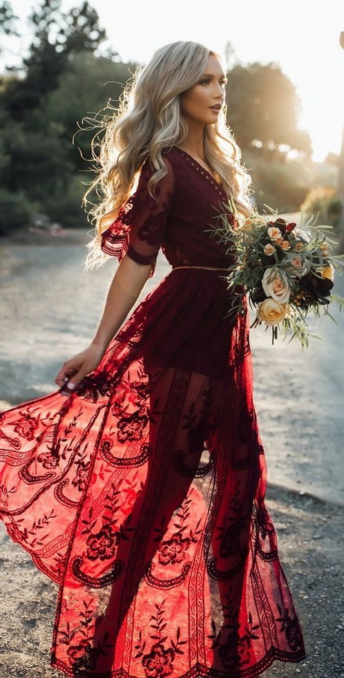 A Boho Wedding Dress In Wine Red This Exhibit Brilliant Design With Beautiful Lace Patterns