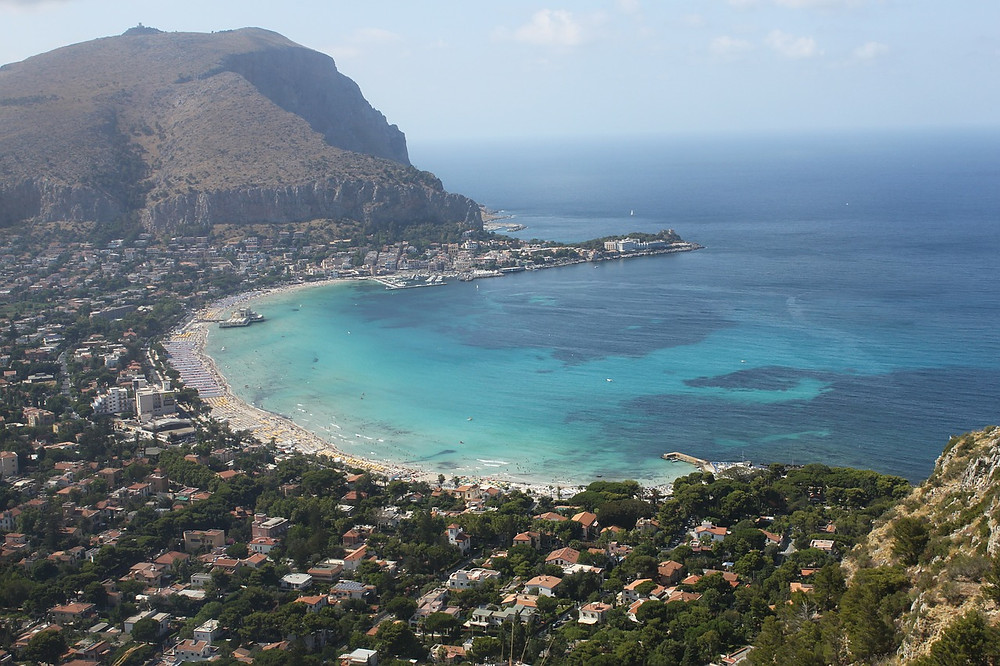 Aerial vie of the bay in Palermo, Italy, where DMC Sicily is based.