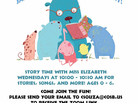 Zoom Story Time Starts Wednesday, May 6th!