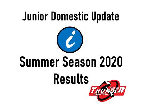 Junior Domestic – Summer Season 2020 Results