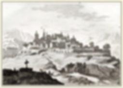 Village de Salers - Gravure 1836 - Cantal 15 - Monts du Cantal. Auvergne. Cité Médiévale.