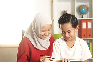 Kids learning together, muslim sister we