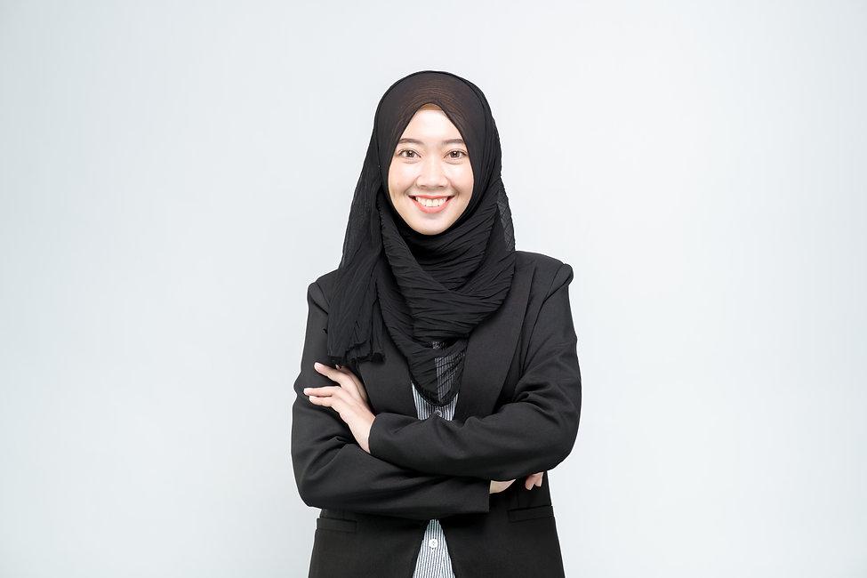 An office worker for an Asian Muslim wom