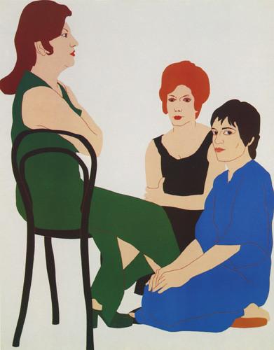Nikias Skapinakis, Encontro de Natália Correia com Fernanda Botelho e Maria João Pires, 1974, Óleo sobre tela, 140 x 110 cm