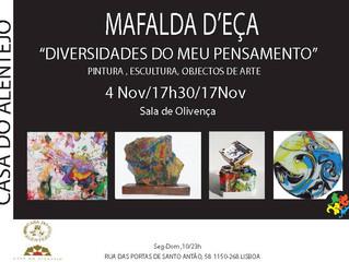 """Agenda: Mafalda D'Eça: """"Diversidades do meu pensamento"""""""