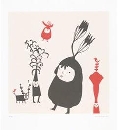 Serigrafia de Ana Ventura, Título: Jardins na cabeça