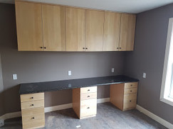 Clear Maple Desk and Cupboards