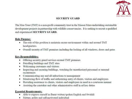 JOB VACANCY-SECURITY GUARD