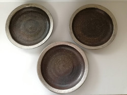 尚妙窯 焼き締め銀彩リム皿