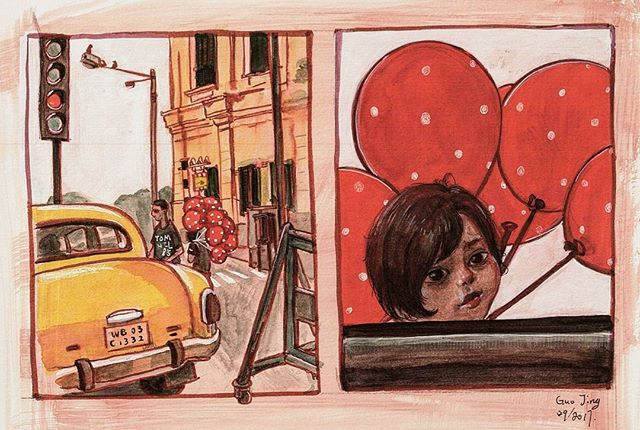 Sketch of Kolkata India.jpg One small girl came to us try to sell those red balloons.jpg I still rem