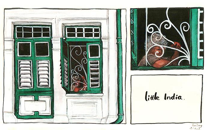 Green window in little india