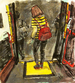 When we reach home by bus in night.jpg Sketch by Guojing