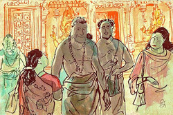 Priest in Hindu temple.jpg Singapore.jpg Sketch By guojing