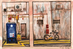 Sketch of lane in little India of Singapore
