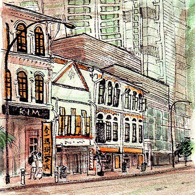 Sketch of Singapore street
