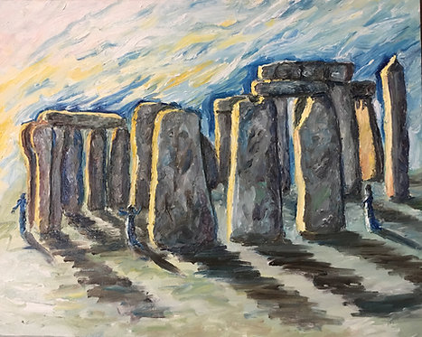 Stonehenge at Summer Solstice (3D bas-relief)