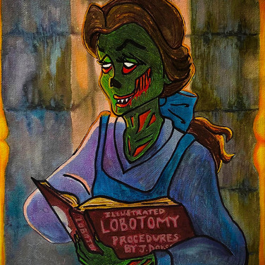"""Jennifer Dodson, """"Iinquisitive and Book-loving Belle"""", 2020, watercolor, oil paint marker, and sharpie"""