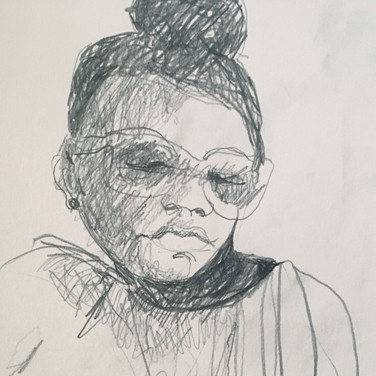 Meridith McNeal, Blind Contour Portrait, Advanced Studio Zoom May 4, 2020