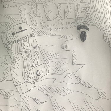 "Akash W., ""Phone is my Favorite Source of Communication"", 2020, pencil on paper"