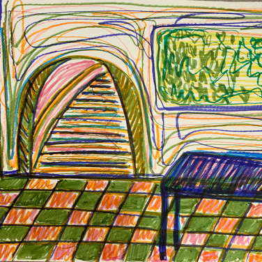 Abriel Gardner, Guided Visualization (a table and a portal), 2020, marker on paper