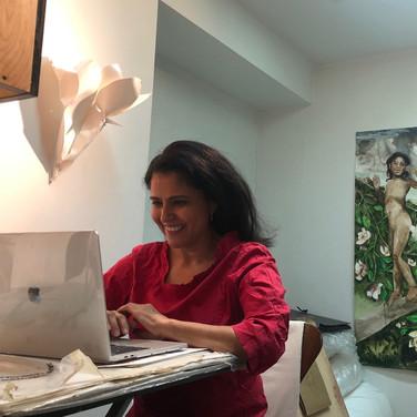Teaching Artist Claudia Alvarez teaching Summer Session from her studio at home