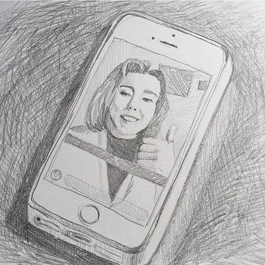 "Evelyn Beliveau, ""Snap Chat with my Sister"", 2020, pencil on paper"