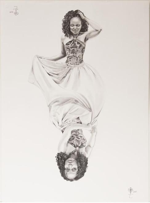 "Nina Buxenbaum, Dualities of Nina, 2005, Graphite on paper, 30x22"""