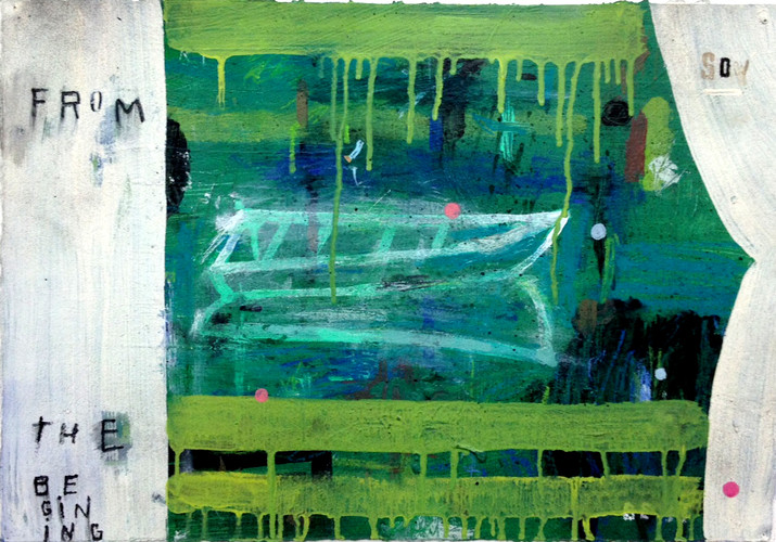 Stephanie Brody-Lederman, From the Beginning (Green Boat), 2012, Acrylic on paper, 14x20""