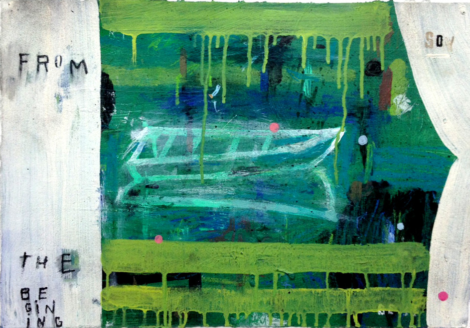 """Stephanie Brody-Lederman, From the Beginning (Green Boat), 2012, Acrylic on paper, 14x20"""""""