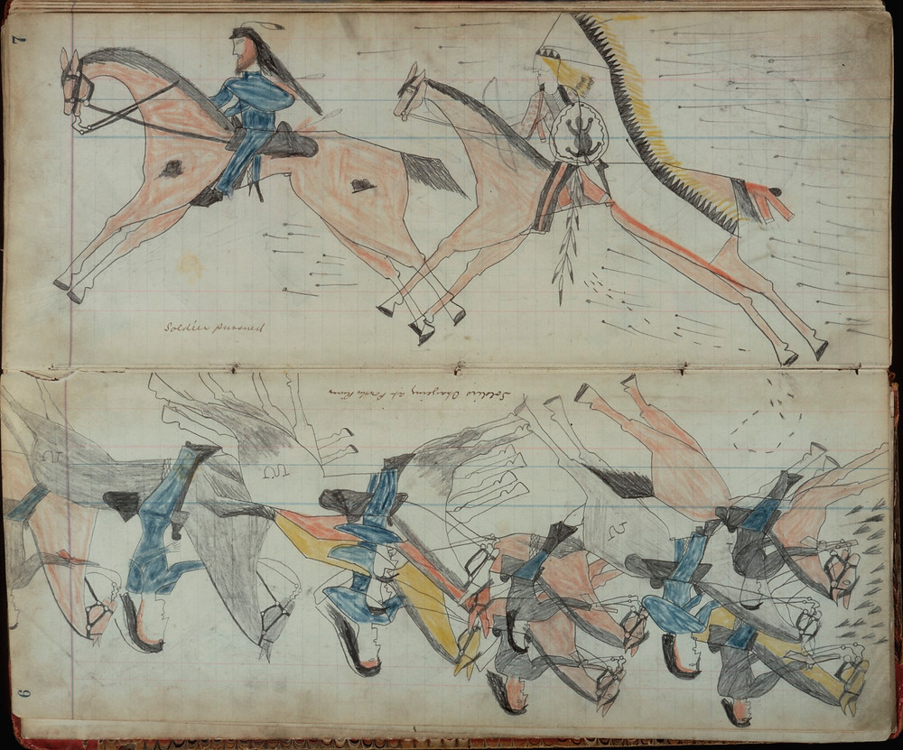 Indians of the Great Plains had a long tradition of chronicling their lives in pictures painted on buffalo and deer hides. Between 1865 and 1935, warrior artists adapted this tradition to the new materials at hand: the blank pages of ledger books obtained from U.S. soldiers, traders, missionaries, and reservation employees. Using colored pencils, crayons, and watercolor paints, Plains Indian men illustrated the battles they fought against the U.S. Army and other Indian tribes.