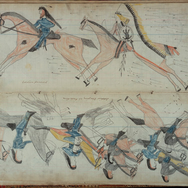 Black Horse Ledger,  Soldiers Charging, 1877