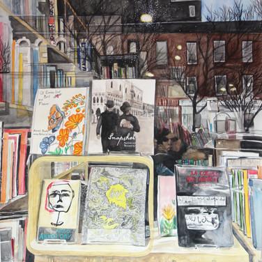 "Meridith McNeal, ""Inside Outside Unnameable Books (Vandebilt Avenue)"", Brooklyn), 2020, watercolor on paper, 55x41"""