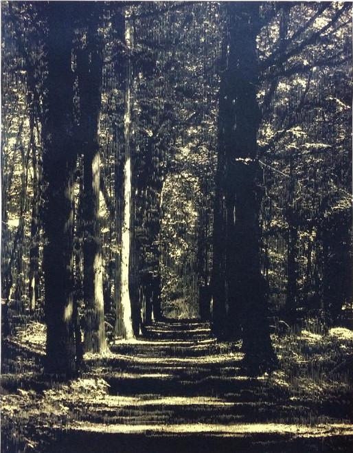 "Katsutoshi Yuasa, Whereof one cannot speak, thereof one must be silent, 2014, woodcut, 26x20"""