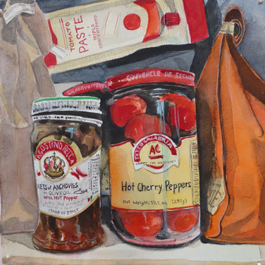"""Meridith McNeal, """"Magical Things from Quarantine Food in the Cabinet"""", 2020, watercolor on paper, 12x12"""""""