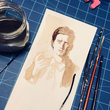 """Jennifer Dodson, """"Painting with my leftover espresso from yesterday. This is an image of Dale Cooper from the TV show, Twin Peaks"""" (in progress), 2020, coffee on paper"""