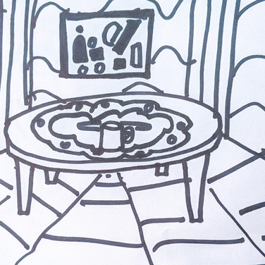 Zeke Brokow, Guided Visualization (table and beverage), 2020, sharpie on paper