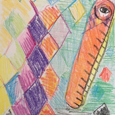 Jane Huntington, Image 5 Zoom Visualization 4/20, crayon on paper