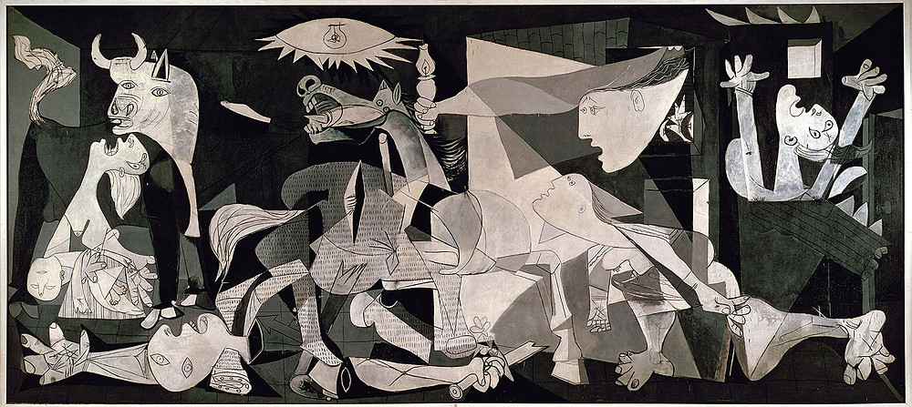 Picasso's painting is based on the events of April 27, 1937, when Hitler's powerful German air force, acting in support of Franco, bombed the village of Guernica in northern Spain, a city of no strategic military value. It was history's first aerial saturation bombing of a civilian population. Picasso, sympathetic to the Republican government of his homeland, was horrified by the reports of devastation and death. Guernica is his visual response, his memorial to the brutal massacre. After hundreds of sketches, the painting was done in less than a month.