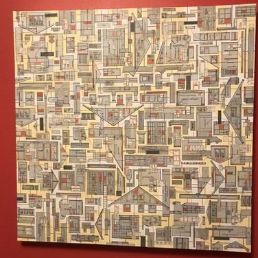 """Karla Prickett, 2020 Mixed media collage including - grandfather's architectural drawings, and bridge construct elements. (All pre-1950.)  on canvas,  30x30"""""""