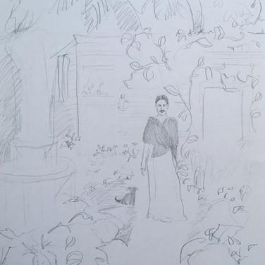 Evelyn Beliveau,  Image 1 Zoom Visualization 4/20, pencil on paper