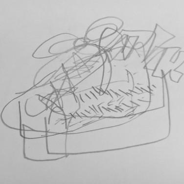Zeke Brokaw, Blind Contour Shoe, Advanced Studio Zoom May 4, 2020