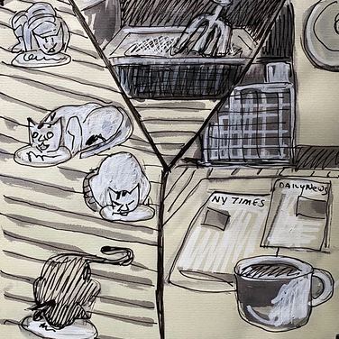 Marie Roberts, Morning Rituals, 2020, Ink on paper