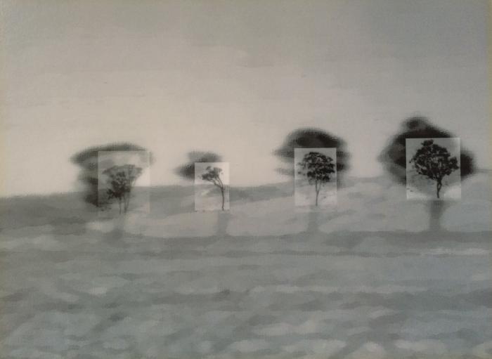 "Karni Dorell, Extension, 2002, Laminated inkjet print on cintra, 7.25x10"""